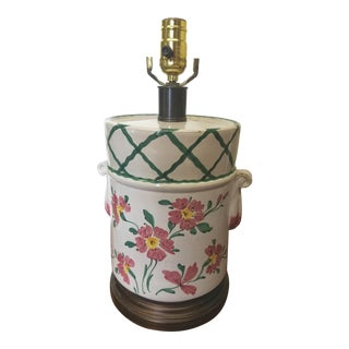 Mid 20th Century French Country Hand Painted Pottery Lamp For Sale