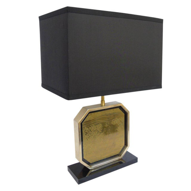 Rare table lamp with etched brass plaque with new black silk shade designed by Georges Mathias. Black acrylic base. Signed...