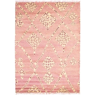 "Moroccan Pink Wool Rug-9'x12'7"" For Sale"