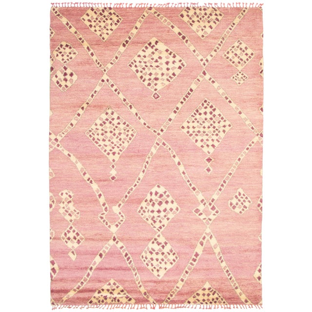 """Moroccan Pink Wool Rug-9'x12'7"""" For Sale"""