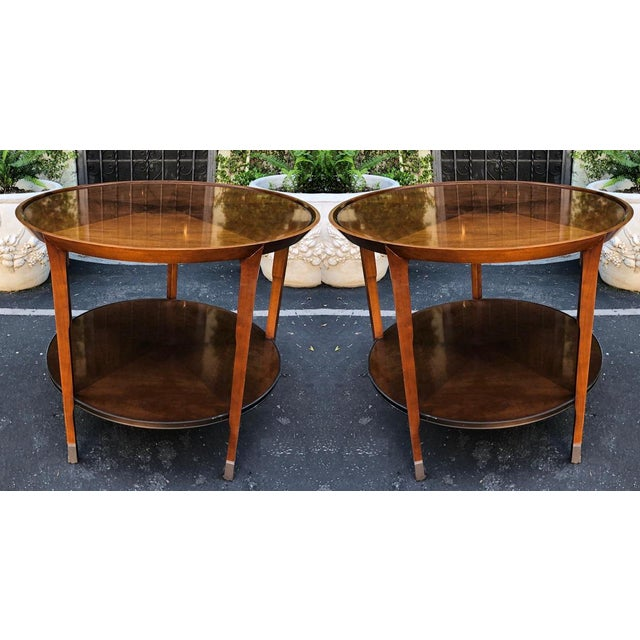 2000 - 2009 Pair of Bill Sofield for Baker Round Mahogany Designer Side Tables For Sale - Image 5 of 7