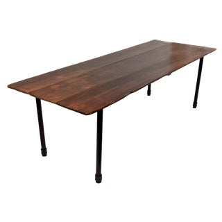 Vintage Reclaimed Wood Plank Table on Industrial Metal Legs For Sale