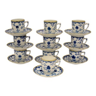 Bing & Grøndahl Gold Rimmed Butterfly Demitasse Cups & Saucers-Set of 10 For Sale