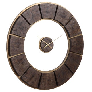 Rustic Dark Wooden Wall Clock For Sale