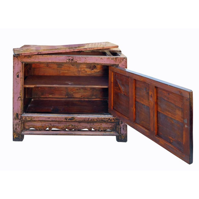 Chinese Floral Cabinet in Rustic Purple - Image 3 of 6