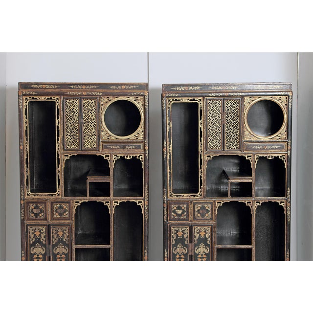Ceramic Pair of Black Lacquer Chinese Display Cabinets For Sale - Image 7 of 13