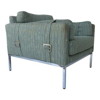 Lounge Chair by Milo Baughman with Belt Buckle Arms For Sale
