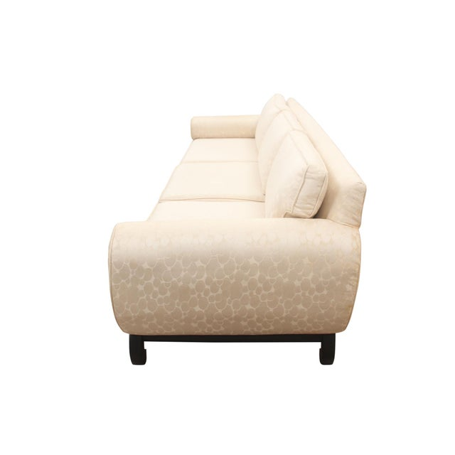 "1960s James Mont Style Ming Sofa in Ivory ""Champagne Bubble"" Fabric For Sale - Image 5 of 8"