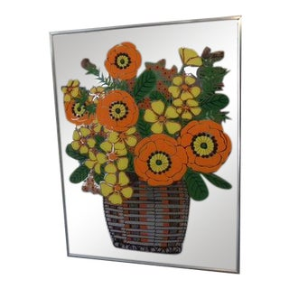 1960s Mid Century Modern Mirror Glass Wall Art For Sale