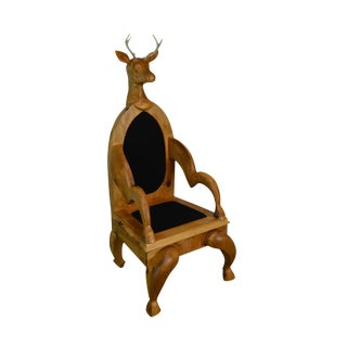 Unusual Hand Carved Stag Head Deer With Antlers Throne Chair For Sale