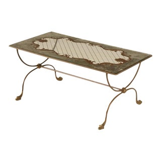 Classic French 1940's Eglomise Cocktail Table w/Fish Feet For Sale