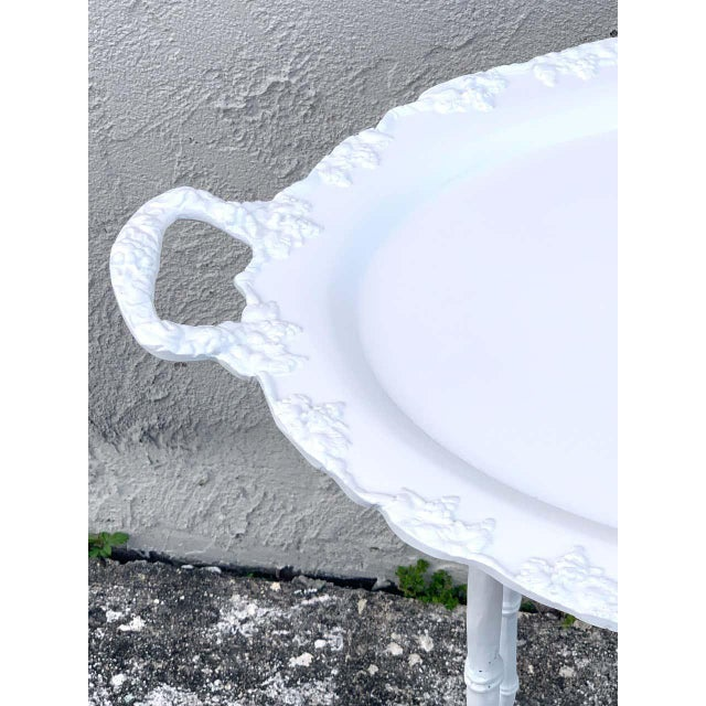 Faux Bamboo and Grape Motif White Enameled Tray Table, Provenance Celine Dion - a Pair For Sale - Image 4 of 10