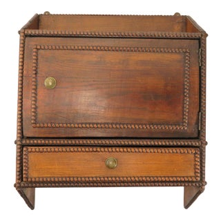 19th Century Primitive Beaded Wood Hanging Wall Cabinet For Sale