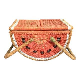 Vintage Watermelon Picnic Basket For Sale