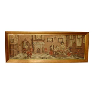 1900 Antique French Oak Framed Interior Scene Tapestry For Sale