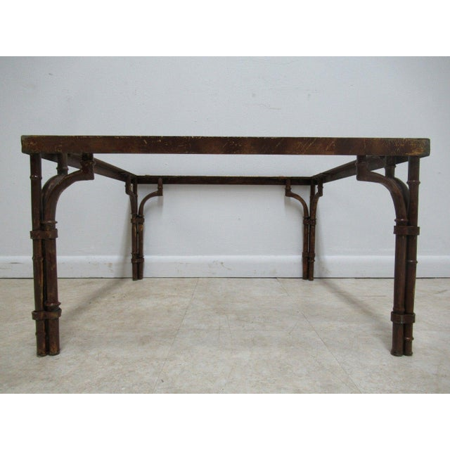 Vintage French Regency Faux Bamboo Metal Table Base - Image 2 of 6