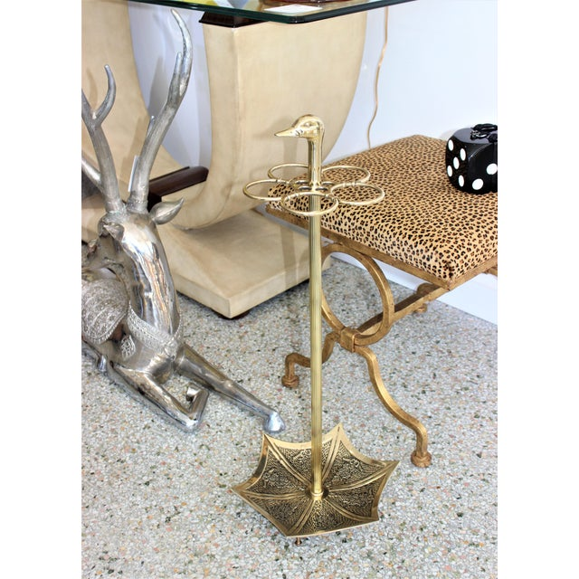 Continental Art Deco Umbrella Stand Holder Polished Brass For Sale - Image 9 of 10