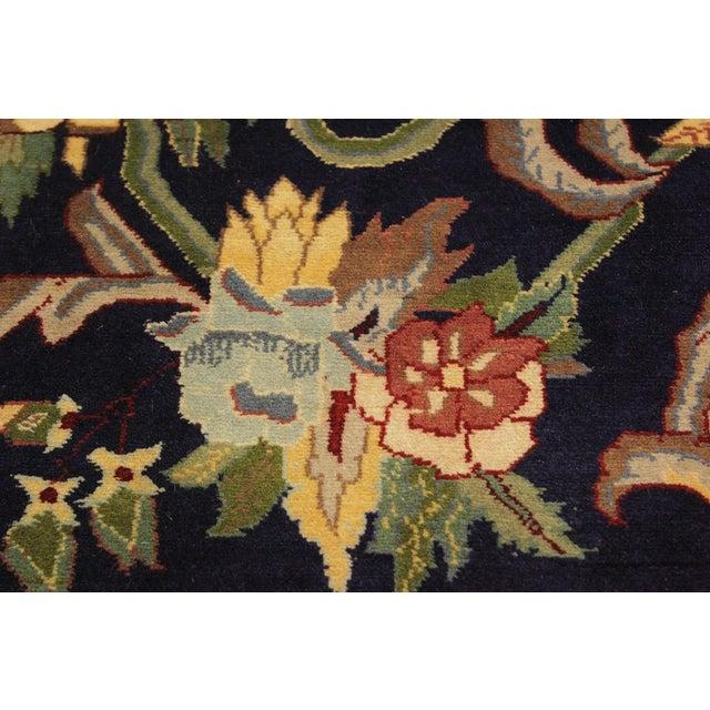 Art Nouveau 1980's Anarkali Pak-Persian Steven Blue/Ivory Wool Rug - 4'1 X 6'1 For Sale - Image 4 of 8