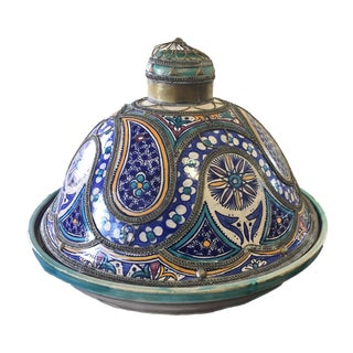 "Lg Vtg Moroccan Ceramic Feast Tajine W/ Metal Overlay 19"" Diameter Fez For Sale"