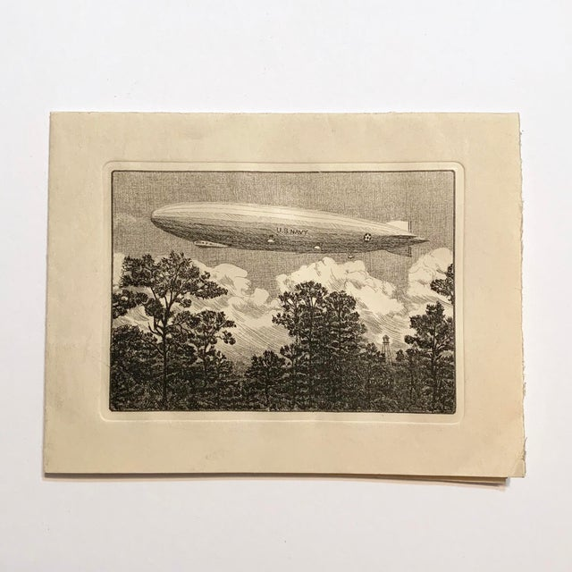 Engraving 1928 Vintage Los Angeles Airship Engraving For Sale - Image 7 of 11
