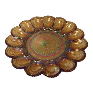 1960s Vintage Fenton Marigold Harvest Carnival Glass Platter For Sale