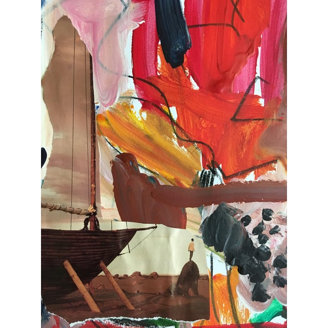 A vibrant piece topped off with the subtle collage of a man and his boat. A serene and inviting scene, this piece will...