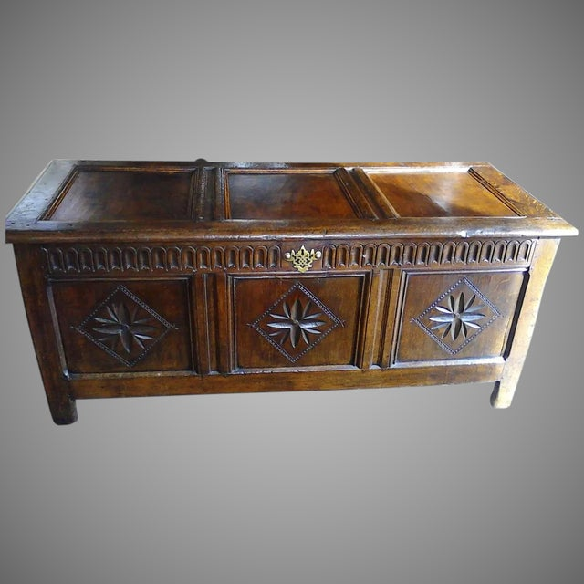 English English Oak Carved Coffer For Sale - Image 3 of 3