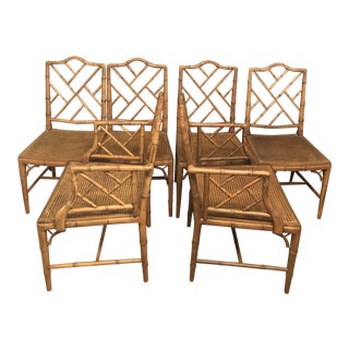 1970s Vintage Faux Bamboo Chinese Chippendale Chairs- Set of 6 For Sale