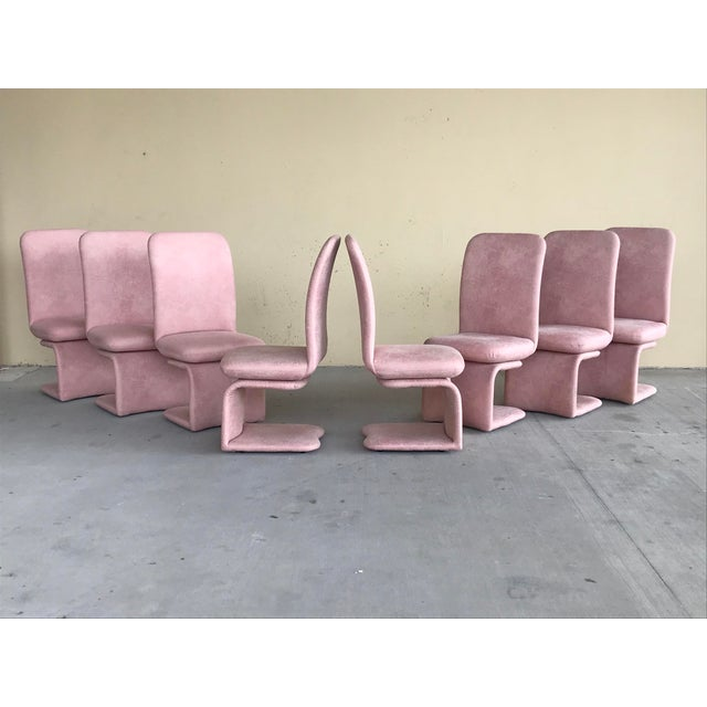 1990s Vintage Milo Baughman for Carsons Pink Upholstered Rolling Swivel Dining Chairs- Set of 8 For Sale - Image 10 of 10