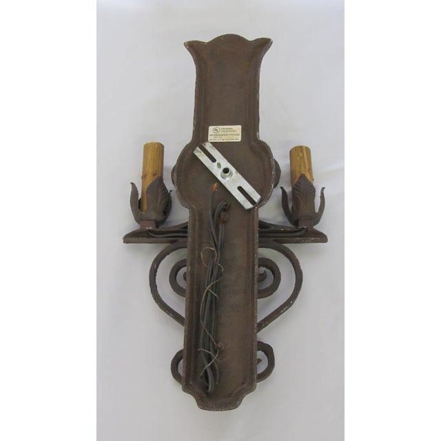 Two Light Wrought Iron Rustic Sconce - Image 6 of 7