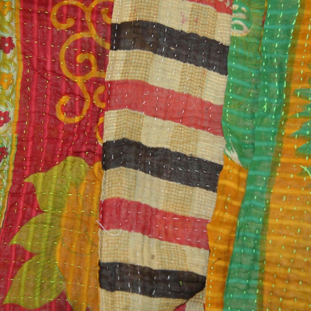 Vintage Red & Yellow Turkish Kantha Quilt - Image 2 of 3