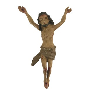 18th C Baroque Corpus Christi Sculpture / Christ Wooden Statue / Antique Carved Jesus For Sale