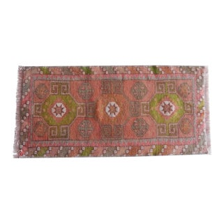 Oriental Rug, Small Oushak Rug, Overdyed Turkish Rug, Vintage Unique Rug, Teppich, Tapis, Bath Mat, Outdoor Wool Rugs 16'' X 32'' / 40x81 CM For Sale