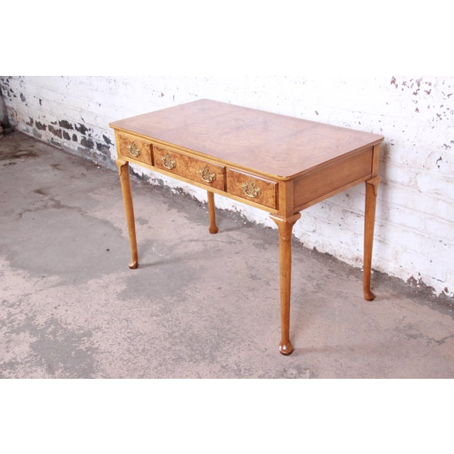 English Baker Furniture Queen Anne Burl Wood Writing Desk For Sale - Image 3 of 13
