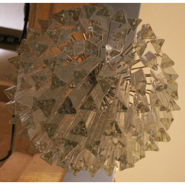 """A Murano Venini c. 1960's chandelier with tri-form crystal prisms. 79 prisms of 2 sizes, 6"""" & 10""""."""