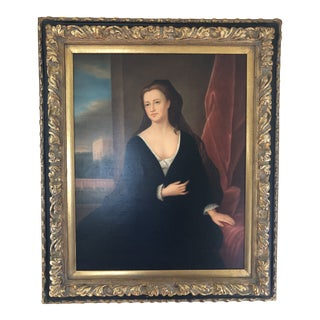 Late 20th Century Portrait Wood Framed Oil Painting For Sale