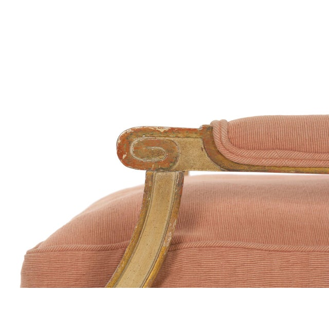Pink French Louis XVI Style Pink Upholstered Painted Arm Chair Circa 1940s For Sale - Image 8 of 13
