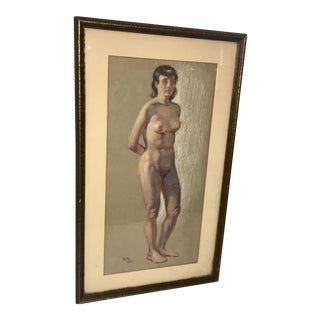 1935 G. R. Nude Pose Pastel Drawing For Sale