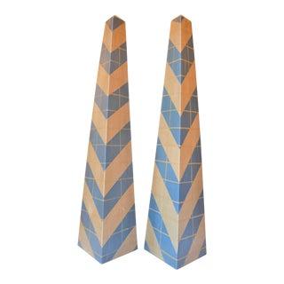 Monumental Vintage Hand Painted Wood Obelisks - a Pair For Sale