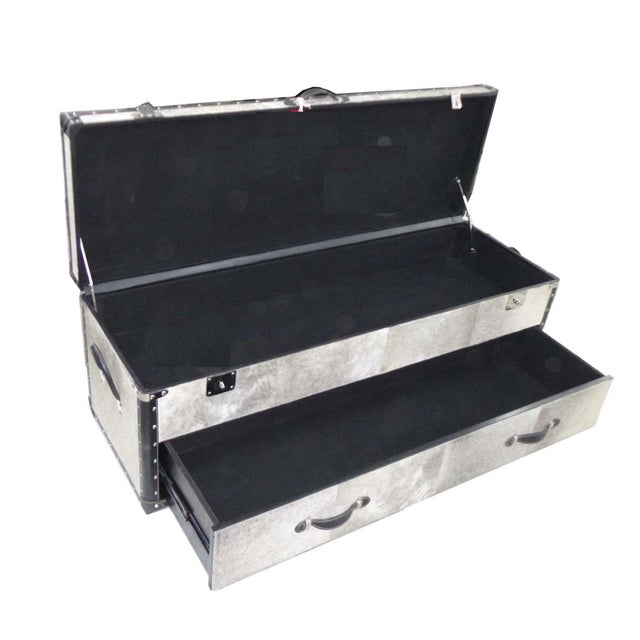 Black and White Hair Leather Bedside Trunk Box - Image 3 of 4
