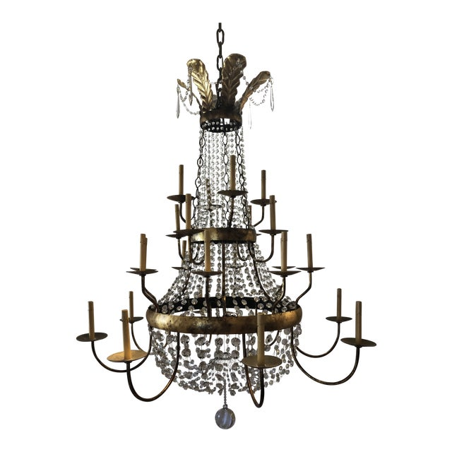 Vintage French Gilt and Crystal 24 Arm Chandelier For Sale