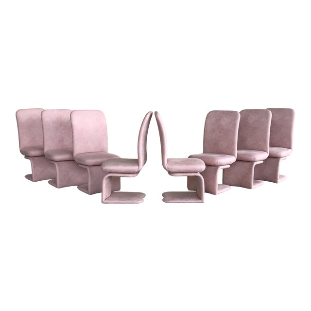 1990s Vintage Milo Baughman for Carsons Pink Upholstered Rolling Swivel Dining Chairs- Set of 8 For Sale