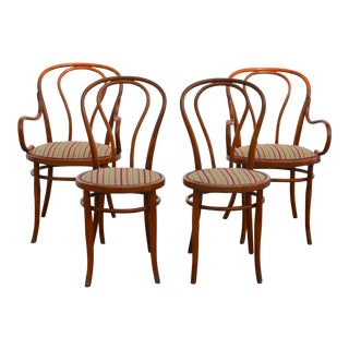 1900s Vintage Slender Bentwood Dining Set by Thonet- Set of 4 For Sale