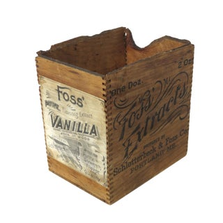 1900s Primitive Vanilla Extract Wood Shipping Crate For Sale
