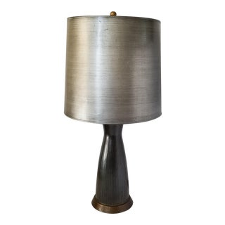 Mid-Century Modern Large Slate Gray Table Lamp For Sale