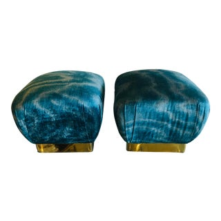 Vintage Karl Springer Style Aqua Velvet & Brass Poufs Ottomans Benches -A Pair For Sale