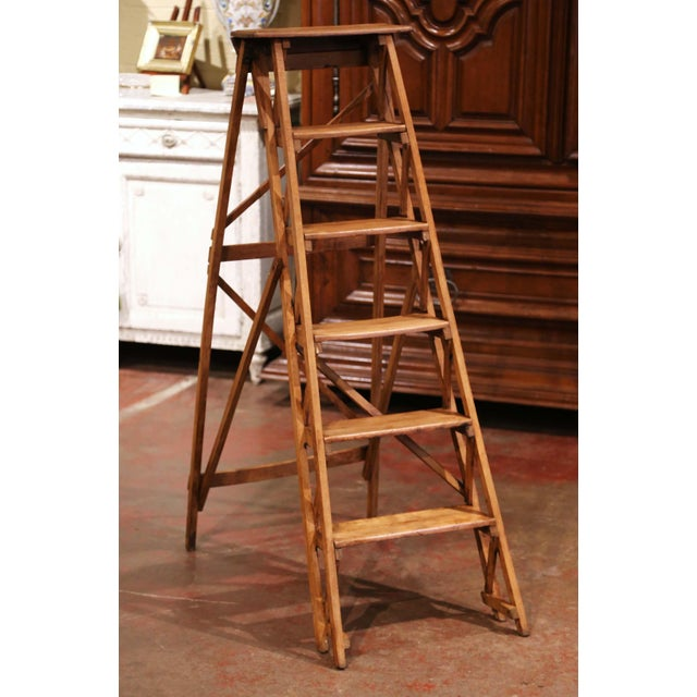 Late 19th Century 19th Century French Napoleon III Carved Walnut Folding Library Six-Step Ladder For Sale - Image 5 of 12
