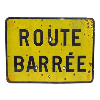 20th Century French Route Barree Metal Sign For Sale