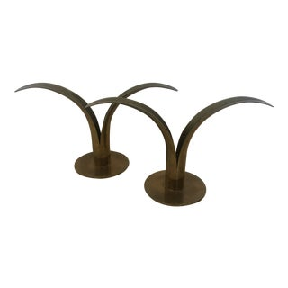 Ystad Metall Brass Lily Candlestick Holders - a Pair For Sale