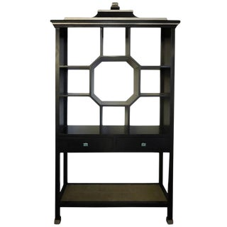 Modern Version Dorothy Draper Style Chinoiserie Curio Cabinet For Sale